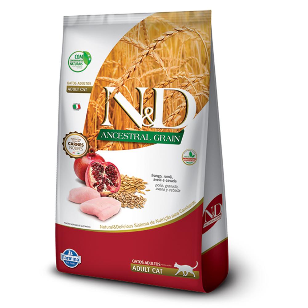 Ração N&D Ancestral Grain para Gatos Adultos Sabor Frango, Romã, Aveia e Cevada 1,5kg