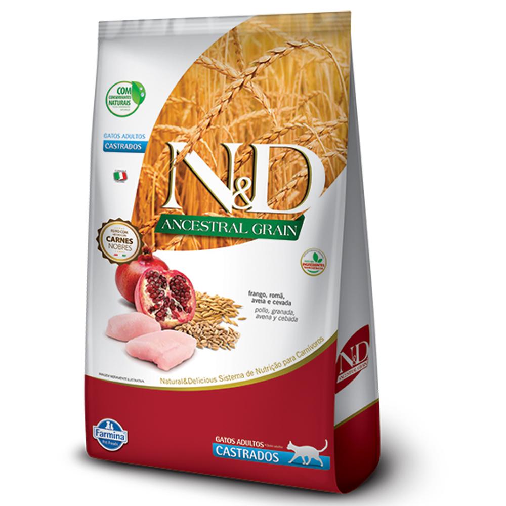 Ração N&D Ancestral Grain para Gatos Adultos Castrados Sabor Frango, Romã, Aveia e Cevada 1,5kg