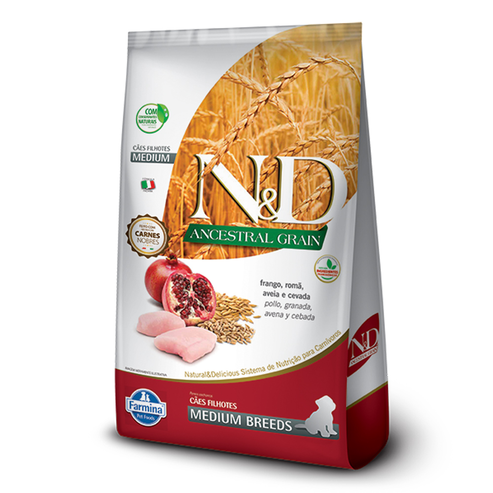 Ração N&D Ancestral Grain para Cães Filhotes de Raças Médias Sabor Frango e Romã 10,1kg