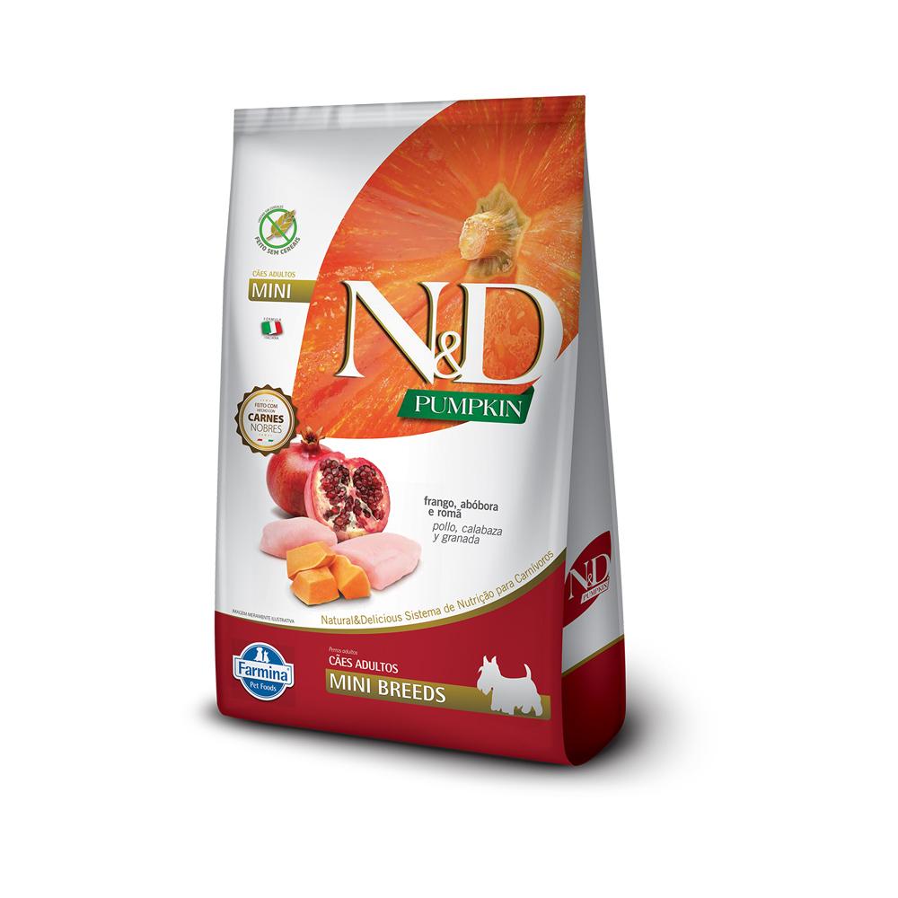 Ração N&D Pumpkin para Cães Adultos Raças Mini sabor Frango, Abóbora e Romã 800g