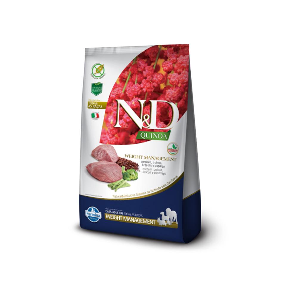 Ração N&D Quinoa Weight Management para Cães Adultos Sabor Cordeiro 800g
