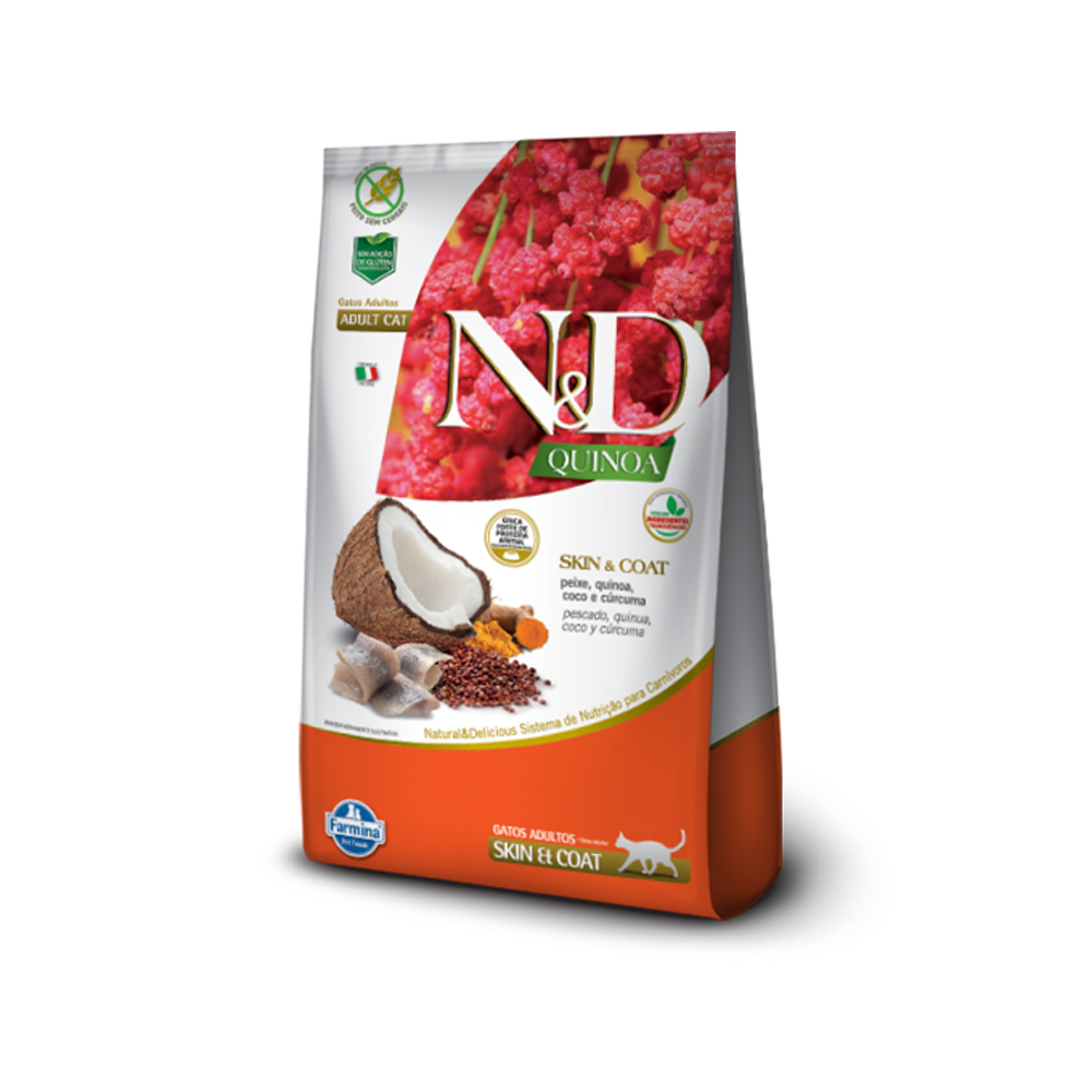 Ração N&D Quinoa Skin e Coat para Gatos Adultos Sabor Peixe, Quinoa, Coco e Cúrcuma 1,5kg