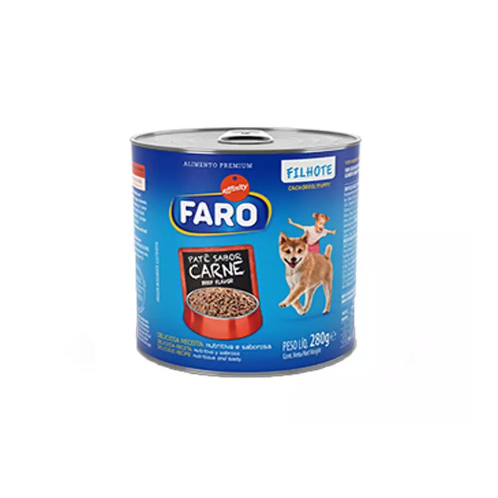 Ração Úmida Faro Lata para Cães Filhotes Sabor Carne 280g