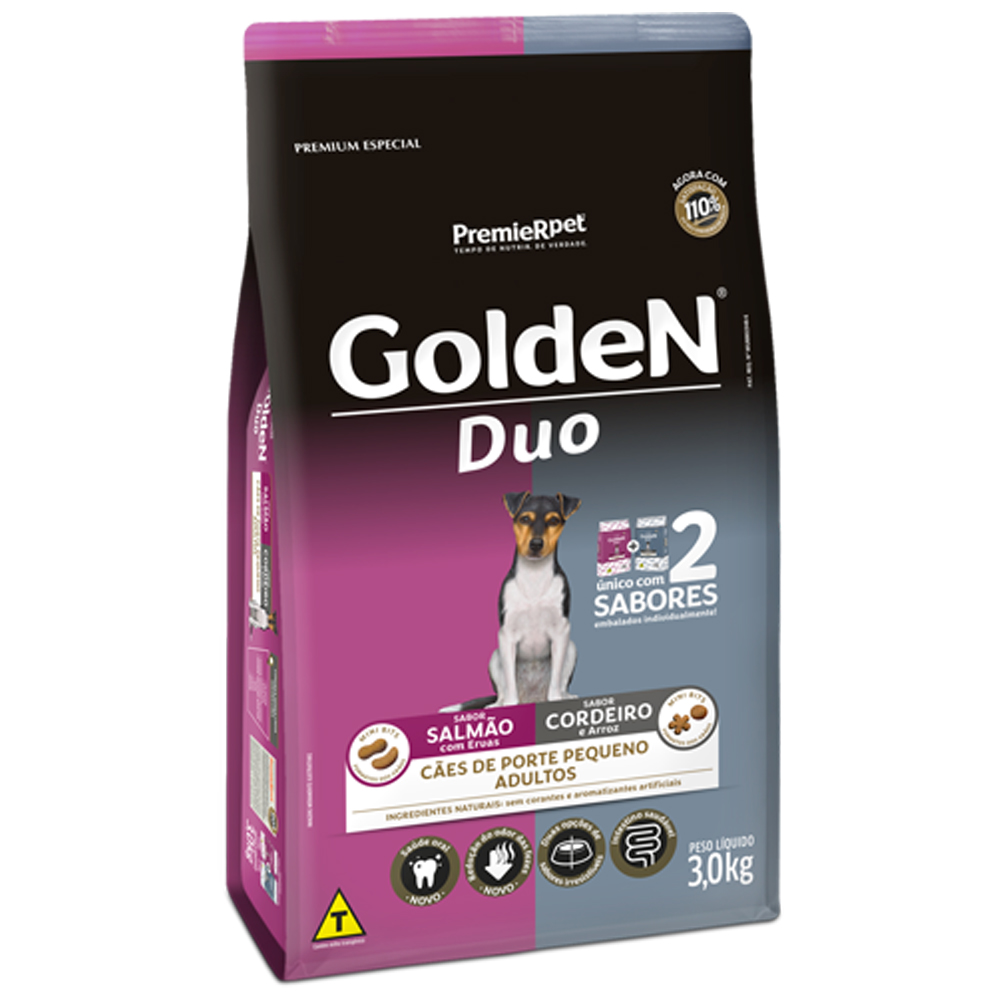 Ração Golden Duo para Cães Adultos de Pequeno Porte Sabor Salmão com Ervas e Cordeiro com Arroz 3kg