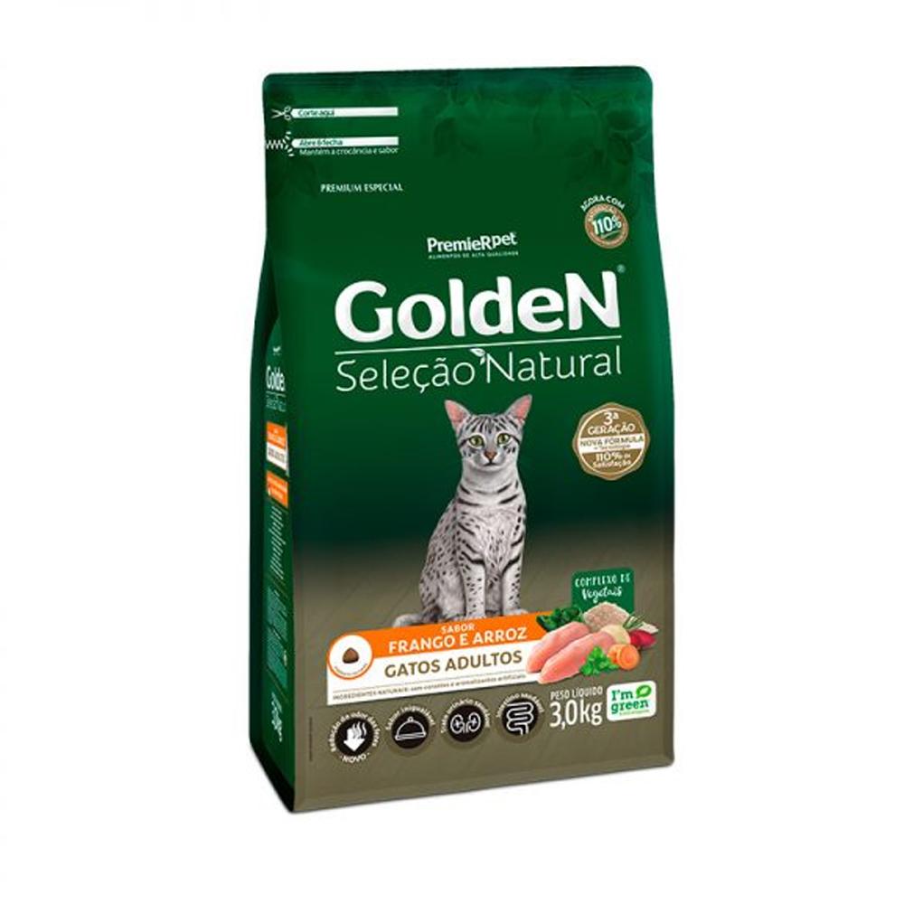 Ração Golden Seleção Natural para Gatos Adultos Sabor Frango e Arroz 3kg
