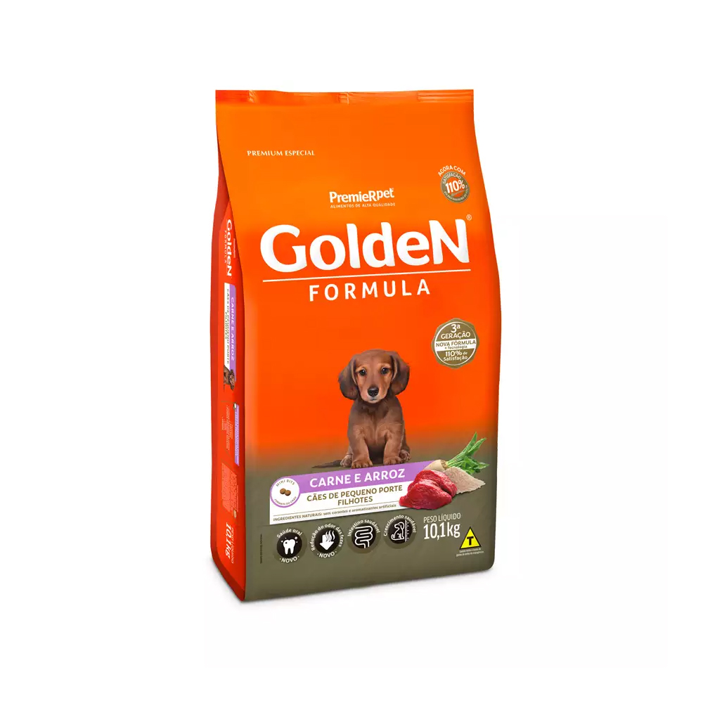 Ração Golden Fórmula Mini Bits para Cães Filhotes Raças Pequenas Sabor Carne e Arroz 10,1kg