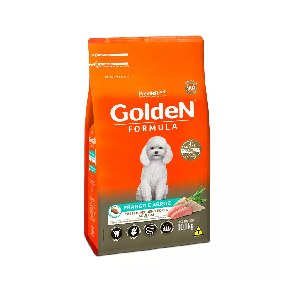 Ração Golden Fórmula Mini Bits para Cães Adultos de Pequeno Porte Sabor Frango e Arroz 10,1kg