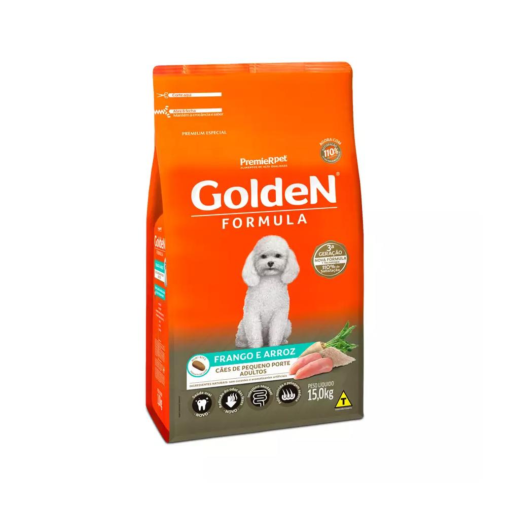 Ração Golden Fórmula Mini Bits para Cães Adultos de Pequeno Porte Sabor Frango e Arroz 15kg