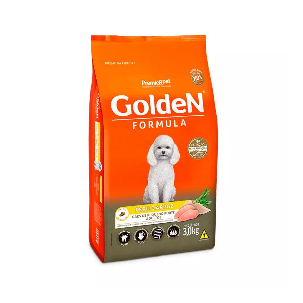 Ração Golden Fórmula para Cães Adultos de Pequeno Porte Sabor Peru e Arroz 3kg