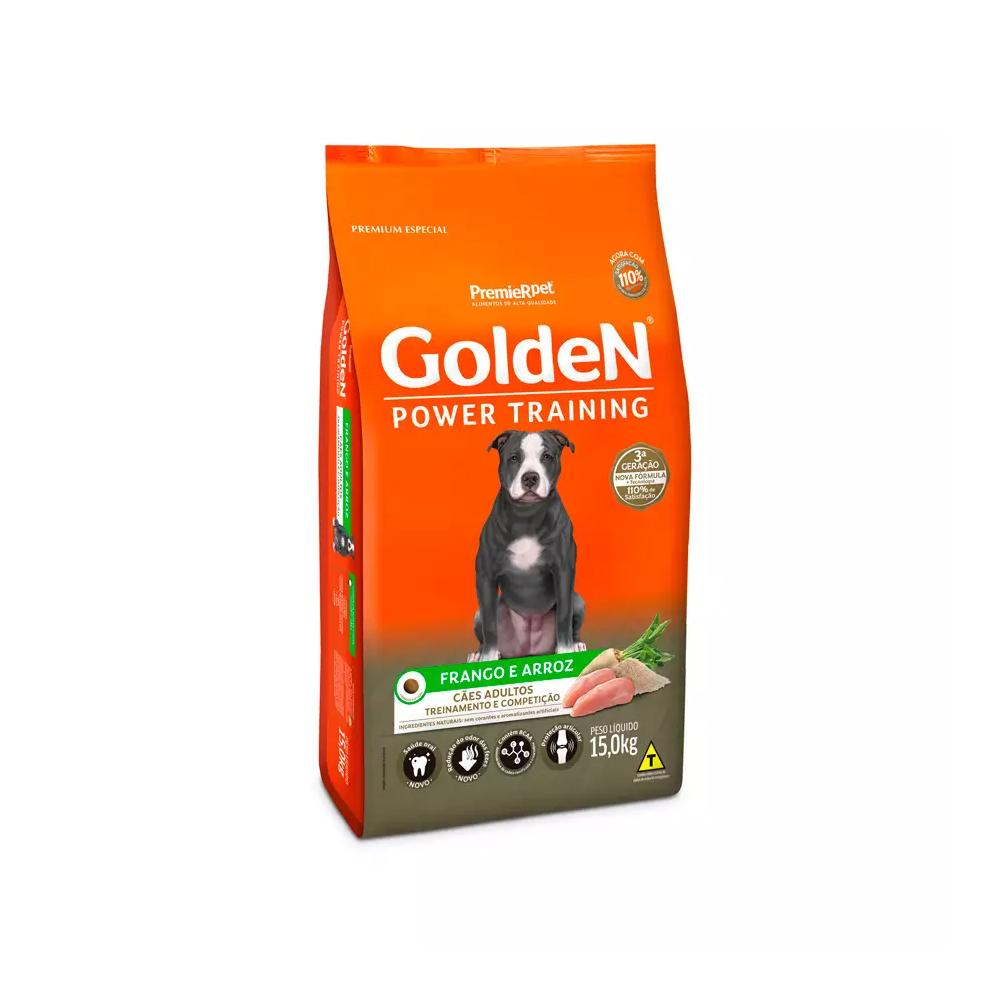 Ração Golden Power Training para Cães Adultos Sabor Frango e Arroz 15kg