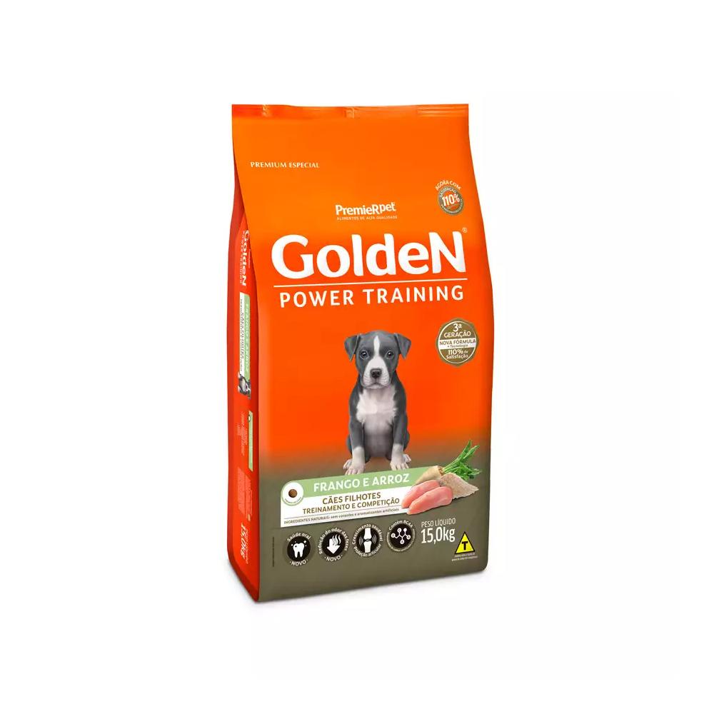 Ração Golden Power Training para Cães Filhotes Sabor Frango e Arroz 15kg
