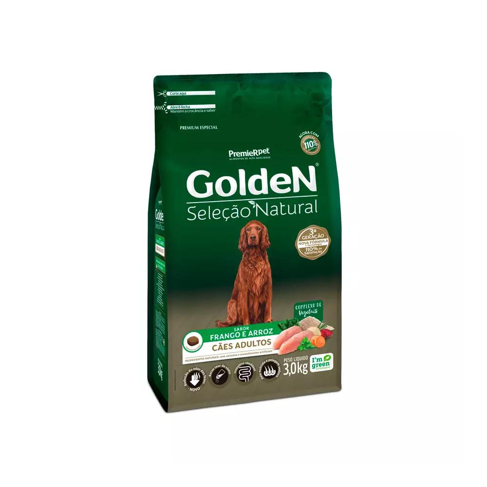 Ração Golden Seleção Natural para Cães Adultos Sabor Frango e Arroz 3kg