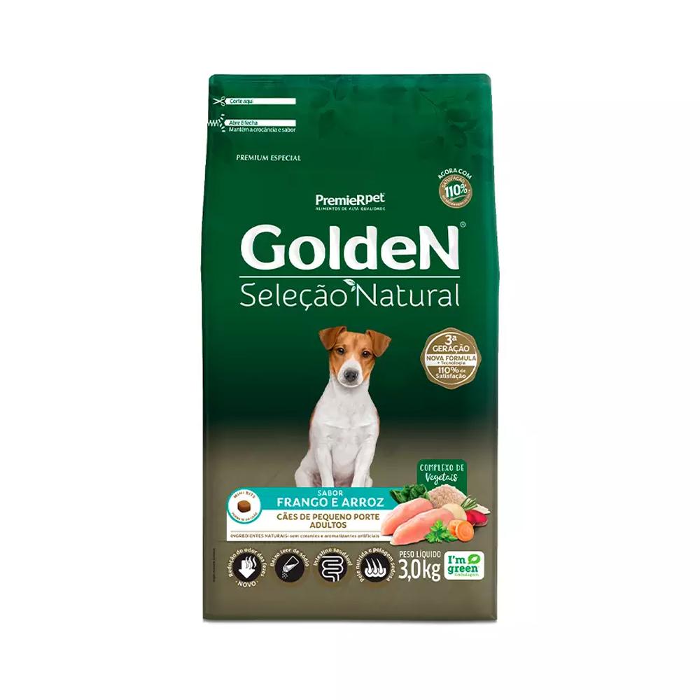 Ração Golden Seleção Natural para Cães Adultos de Raças Pequenas Sabor Frango e Arroz 3kg