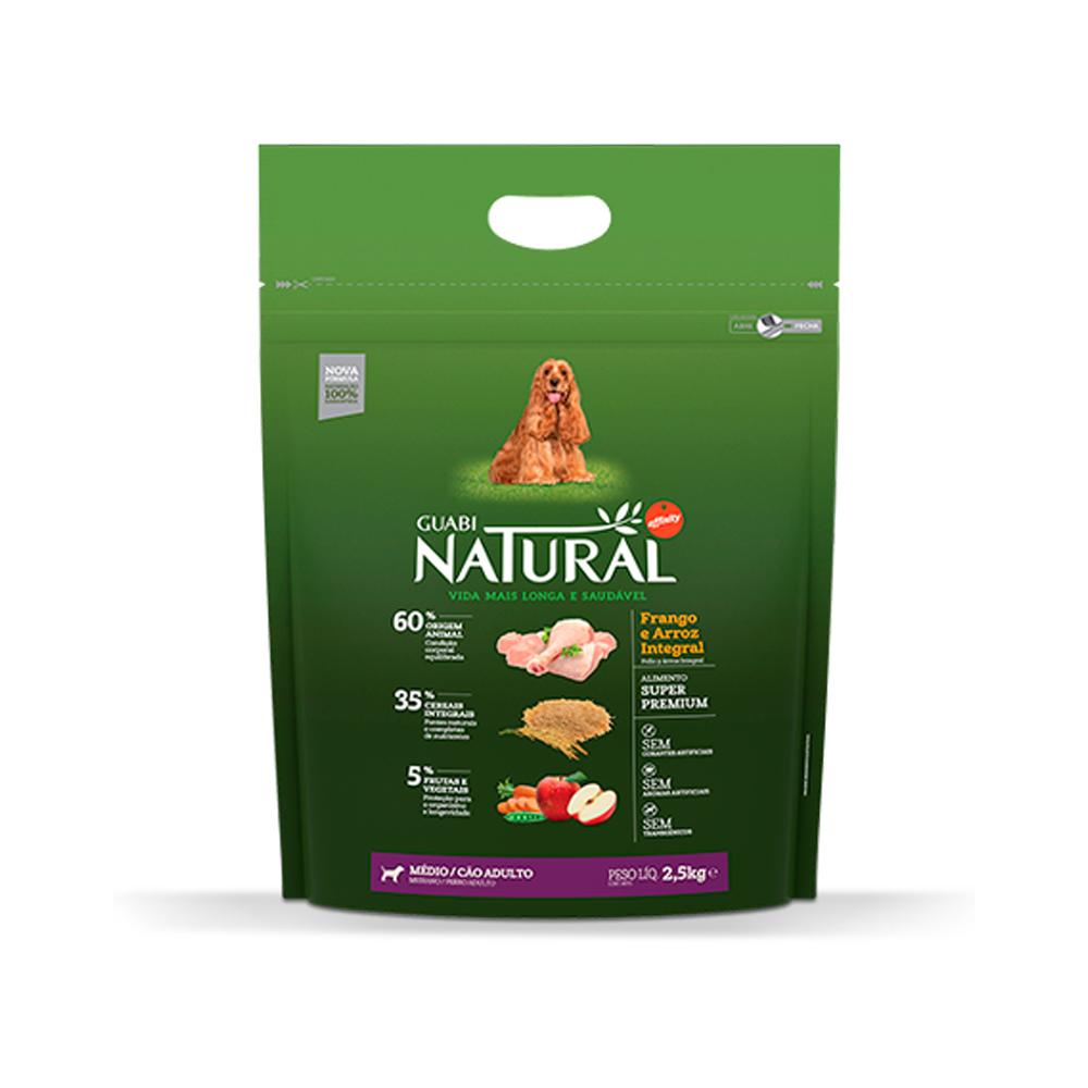 Ração Guabi Natural para Cães Adultos de Porte Médio Sabor Frango e Arroz Integral 2,5kg