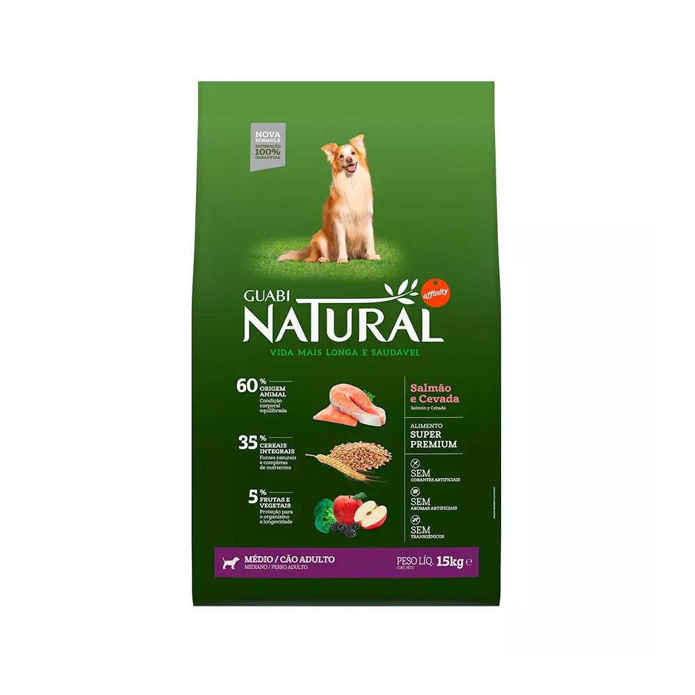Ração Guabi Natural para Cães Adultos de Raças Médias sabor Salmão e Cevada 15kg