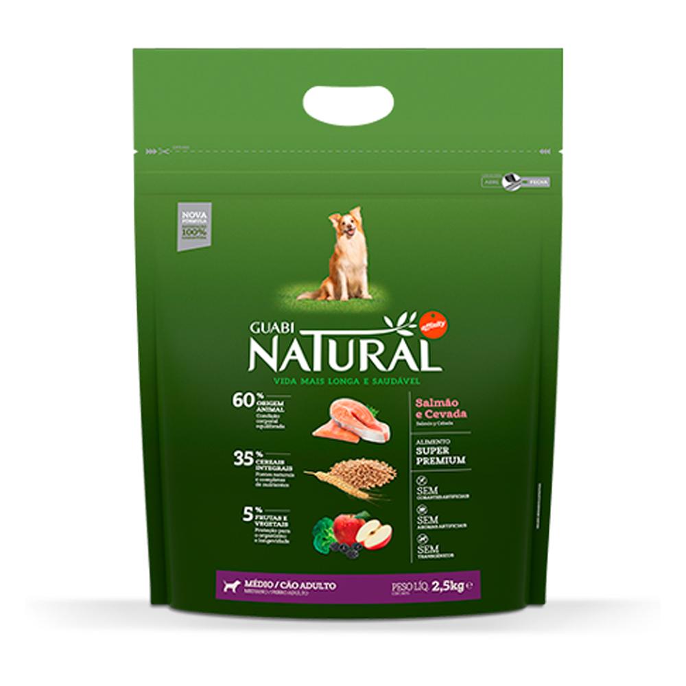 Ração Guabi Natural para Cães Adultos de Porte Médio Sabor Salmão e Cevada 2,5kg