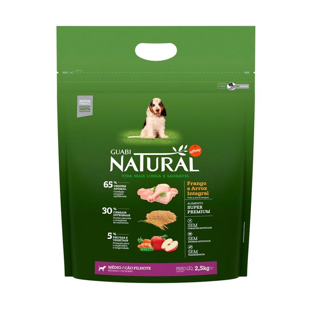 Ração Guabi Natural para Cães Filhotes de Porte Médio Sabor Frango e Arroz Integral 2,5kg