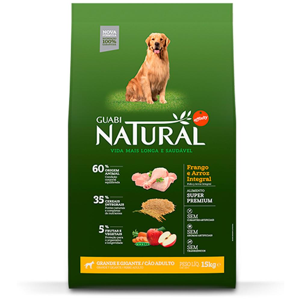 Ração Guabi Natural para Cães Adultos de Porte Grande e Gigante Sabor Frango e Arroz Integral 15kg