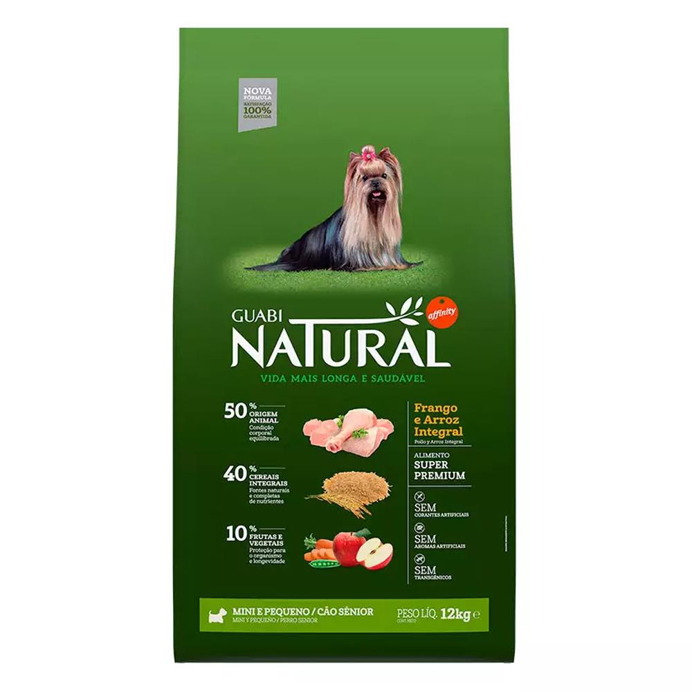 Ração Guabi Natural para Cães Sênior de Porte Mini e Pequeno Sabor Frango e Arroz Integral 12kg