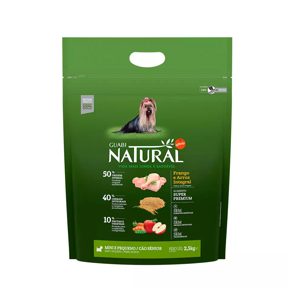 Ração Guabi Natural para Cães Sênior de Porte Mini e Pequeno Sabor Frango e Arroz Integral 2,5kg