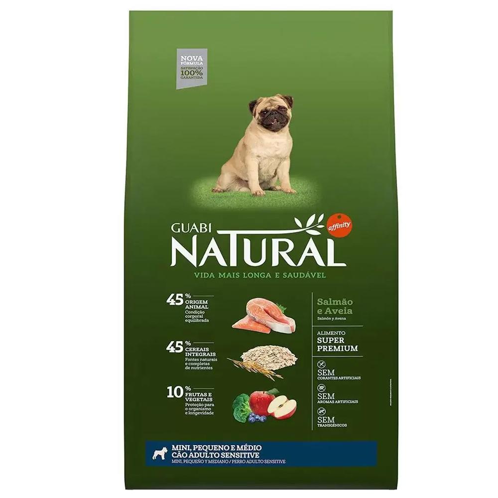 Ração Guabi Natural Sensível para Cães Adultos de Porte Mini, Pequeno e Médio Sabor Salmão e Aveia 12kg