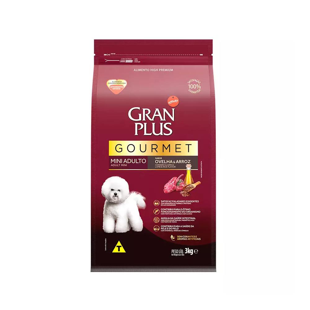 Ração GranPlus Gourmet para Cães Adultos de Porte Mini Sabor Ovelha e Arroz 3kg