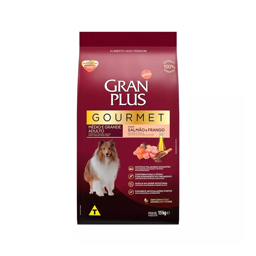 Ração GranPlus Gourmet para Cães Adultos de Médio e Grande Porte Sabor Salmão e Frango 15kg