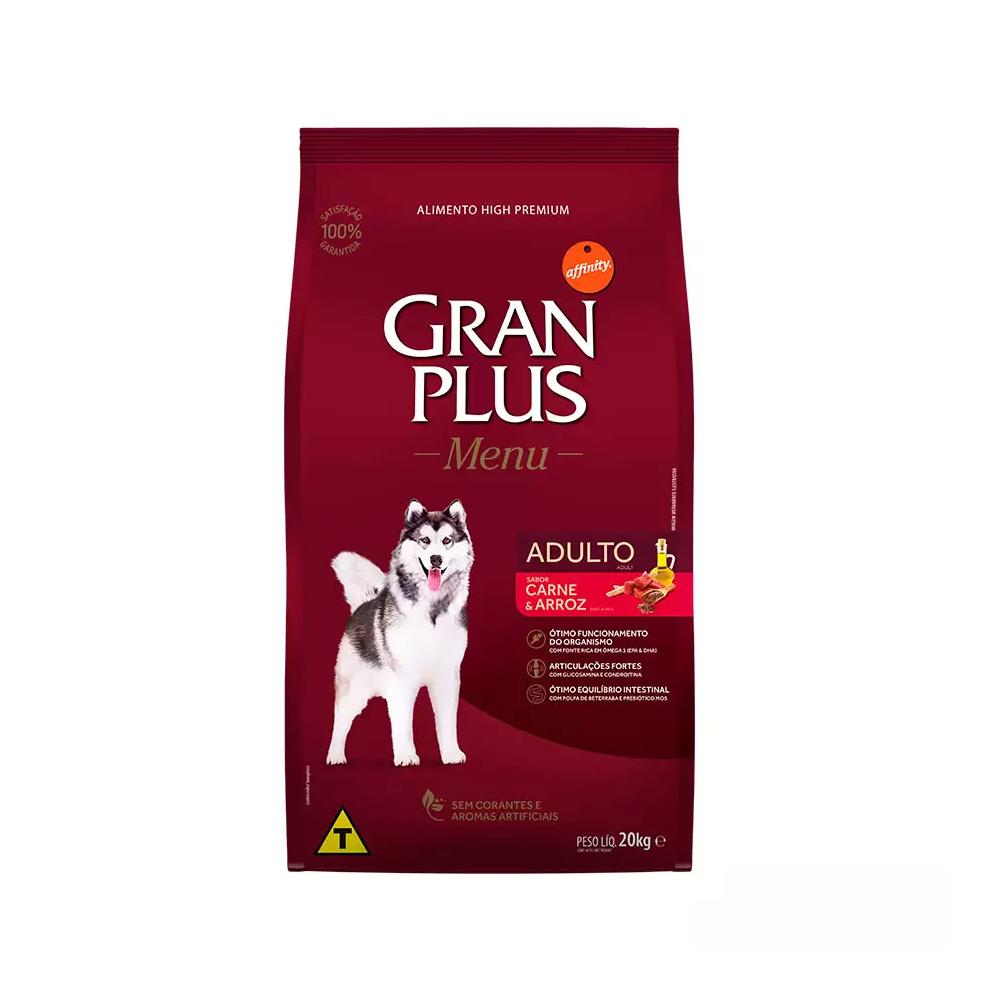 Ração GranPlus Menu Para Cães Adultos de Porte Médio e Grande Sabor Carne e Arroz 20kg