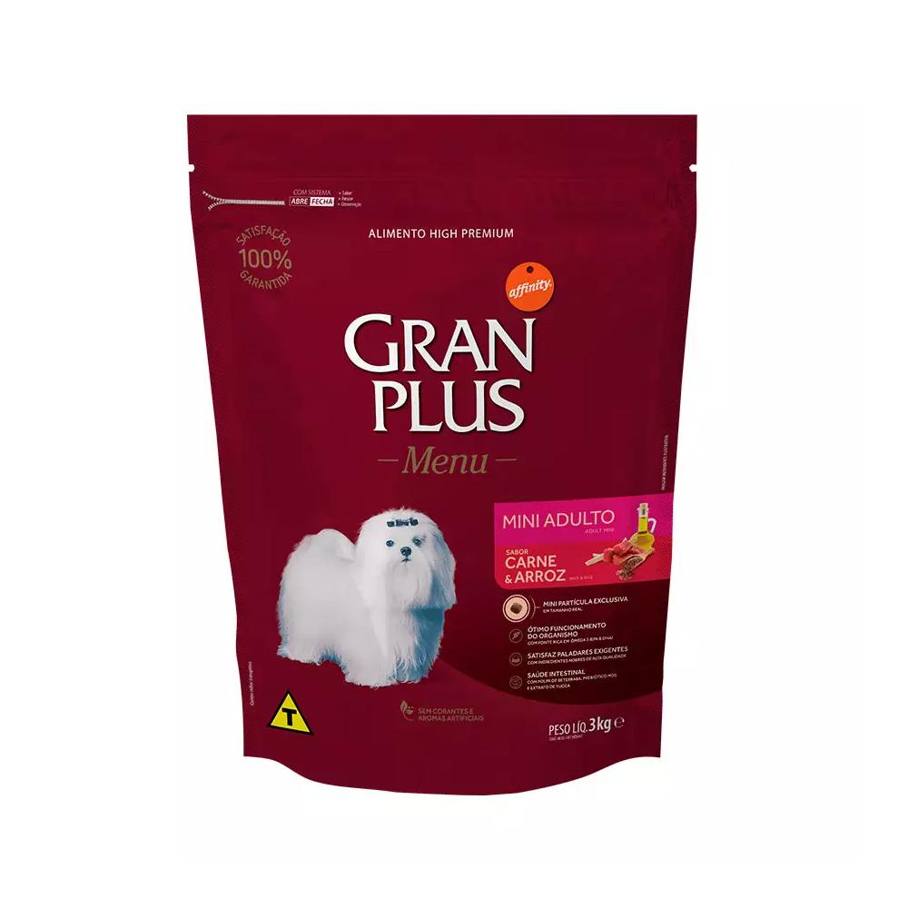 Ração GranPlus Menu para Cães Adultos de Porte Mini Sabor Carne e Arroz 3kg