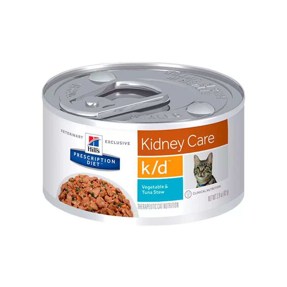 Ração Úmida Hills Prescription Diet Kidney Care k/d para Gatos Adultos Sabor Atum e Vegetais 82g