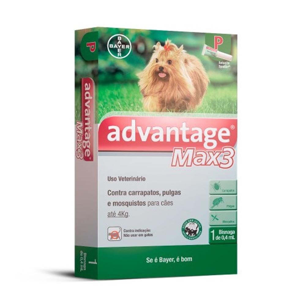 Advantage Max3 para Cães até 4kg 0,4ml