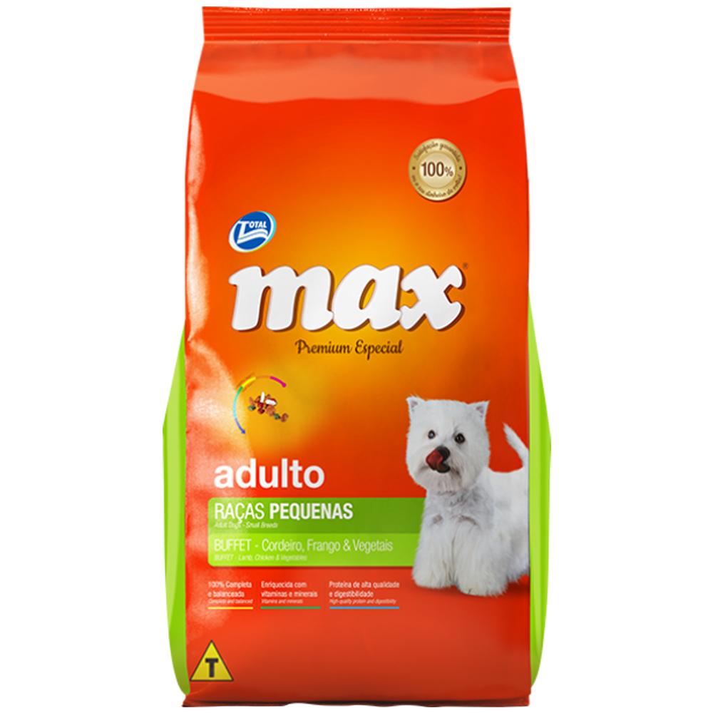 Ração Max Buffet para Cães Adultos Raças Pequenas Sabor Cordeiro, Frango e Vegetais 20kg