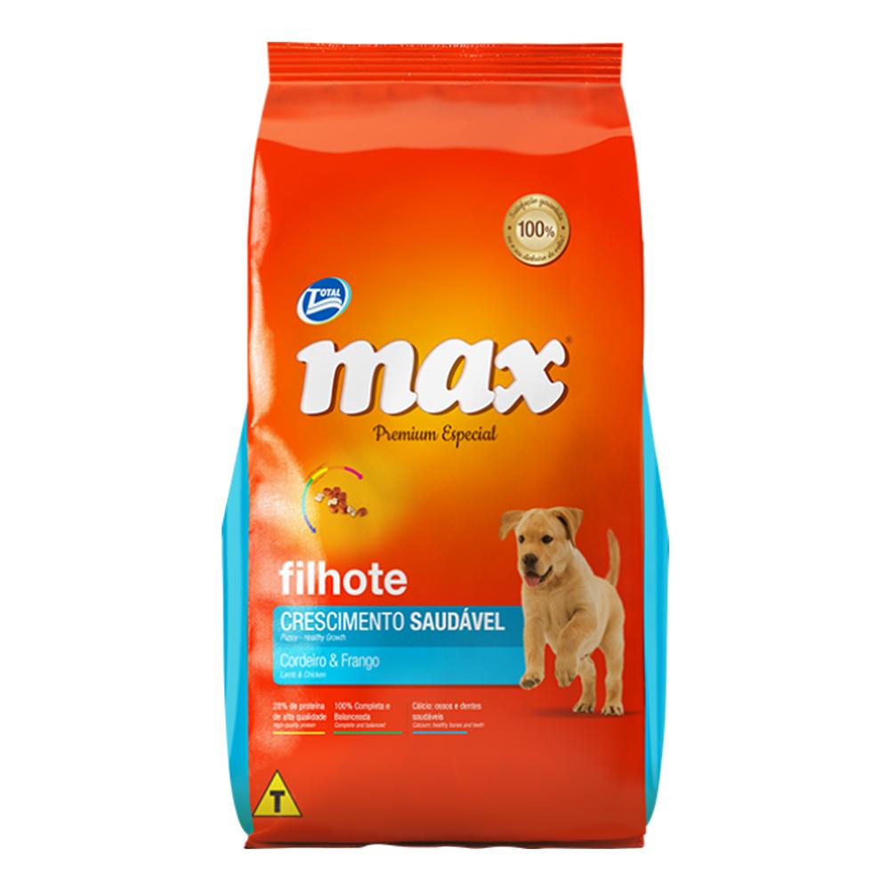 Ração Max Crescimento Saudável para Cães Filhotes Sabor Cordeiro e Frango 15kg