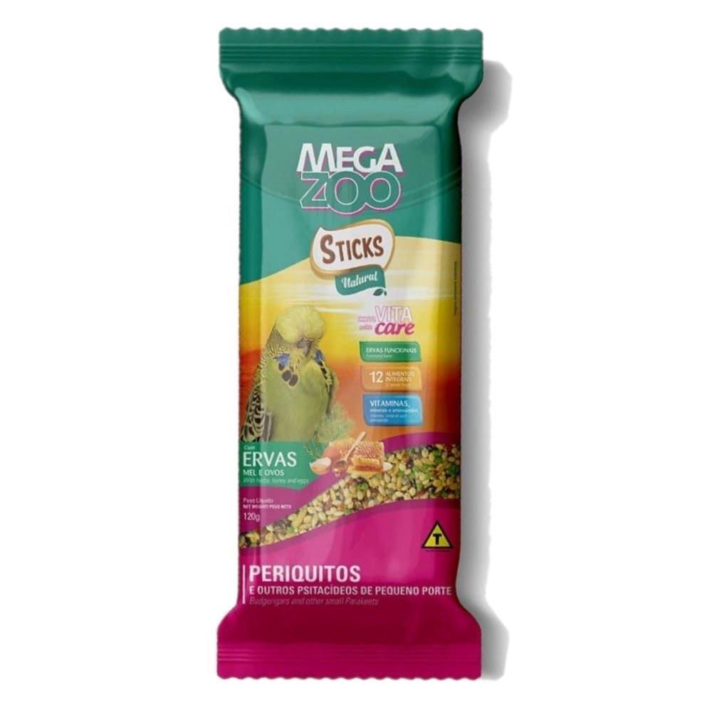 MEGAZOO STICKS PERIQUITOS ERVAS MEL E OVOS 120G