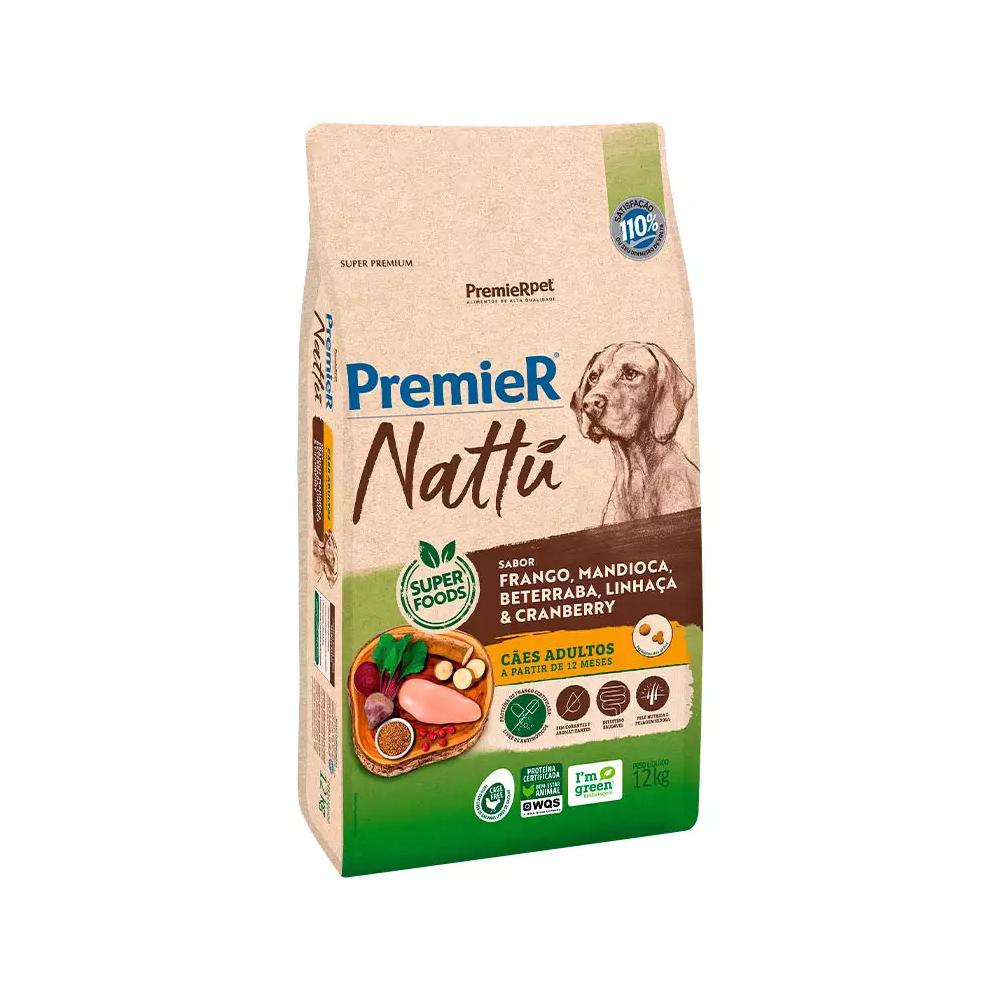 Ração Premier Nattu para Cães Adultos Sabor Mandioca 12kg