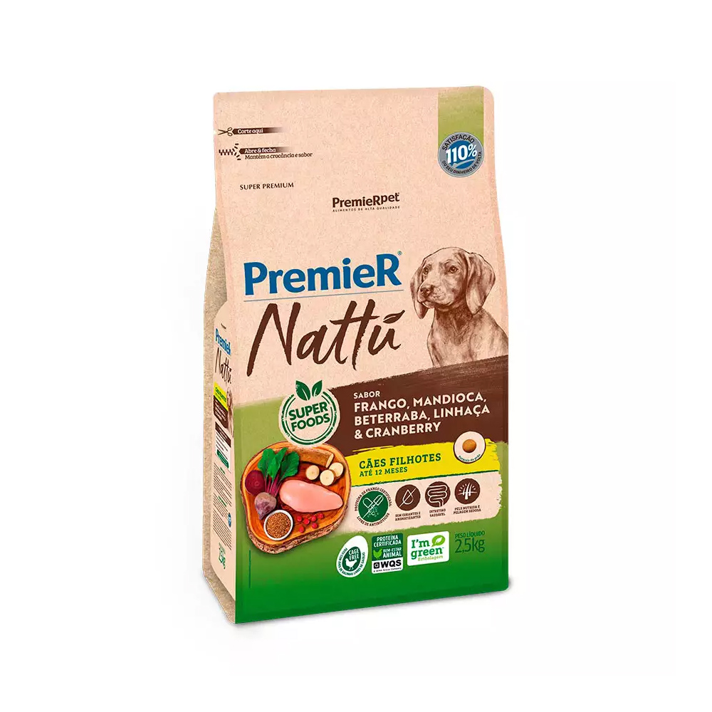 PREMIER NATTU CÃES FILHOTES MANDIOCA 2,5 KG