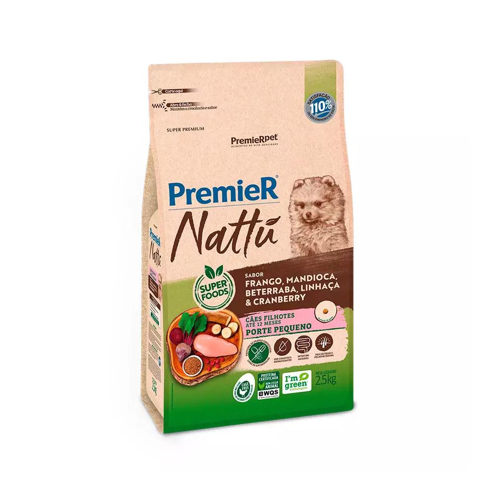 Ração Premier Nattu para Cães Filhotes de Raças Pequenas Sabor Mandioca 2,5kg