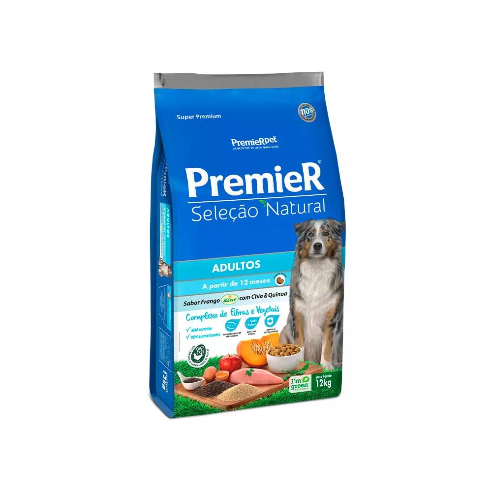 Ração Premier Seleção Natural para Cães Adultos Sabor Frango com Chia e Quinoa 12kg