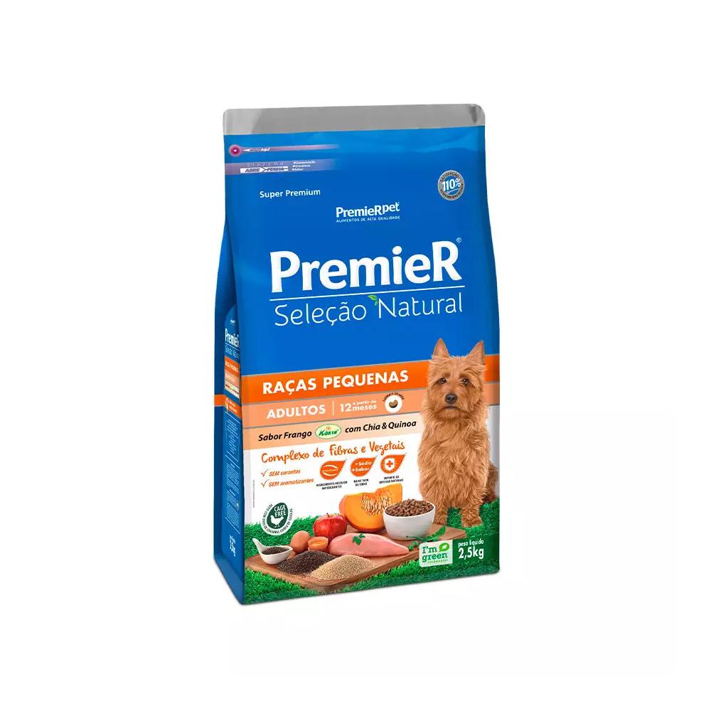 Ração Premier Seleção Natural para Cães Adultos Raças Pequenas Sabor Frango com Chia e Quinoa 2,5kg