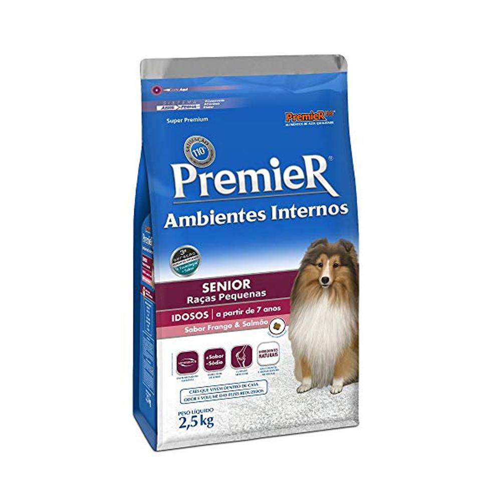 Ração Premier Ambientes Internos Senior para Cães Adultos 7+ Sabor Frango e Salmão 2,5kg