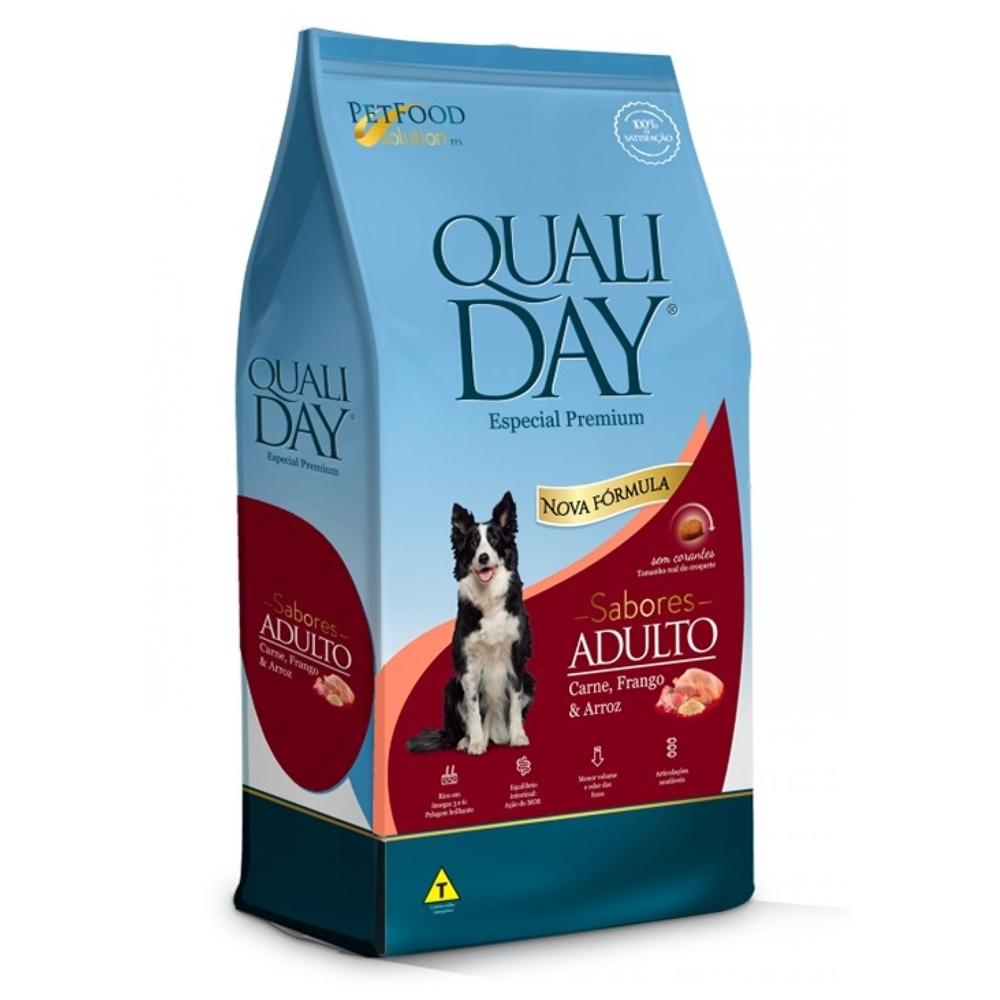 Ração Qualiday para Cães Adultos Sabor Carne, Frango e Arroz 15kg
