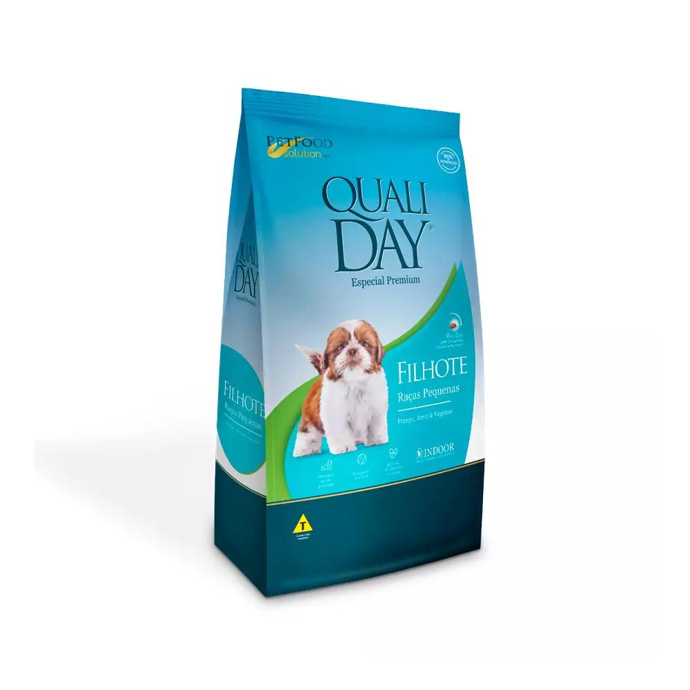 Ração Qualiday para Cães Filhotes de Raças Pequenas Sabor Frango, Arroz e Vegetais 3kg