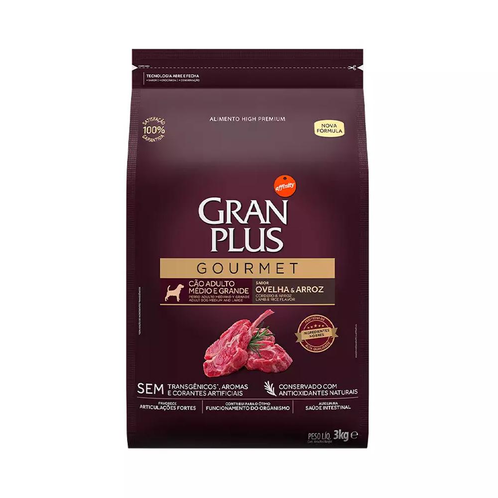 Ração GranPlus Gourmet para Cães Adultos de Médio e Grande Porte Sabor Ovelha e Arroz 3kg