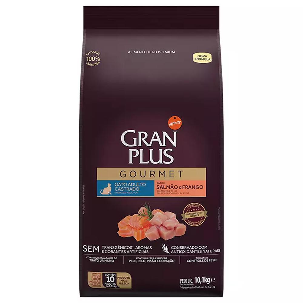 Ração GranPlus Gourmet para Gatos Adultos Castrados Sabor Salmão e Frango 10,1kg