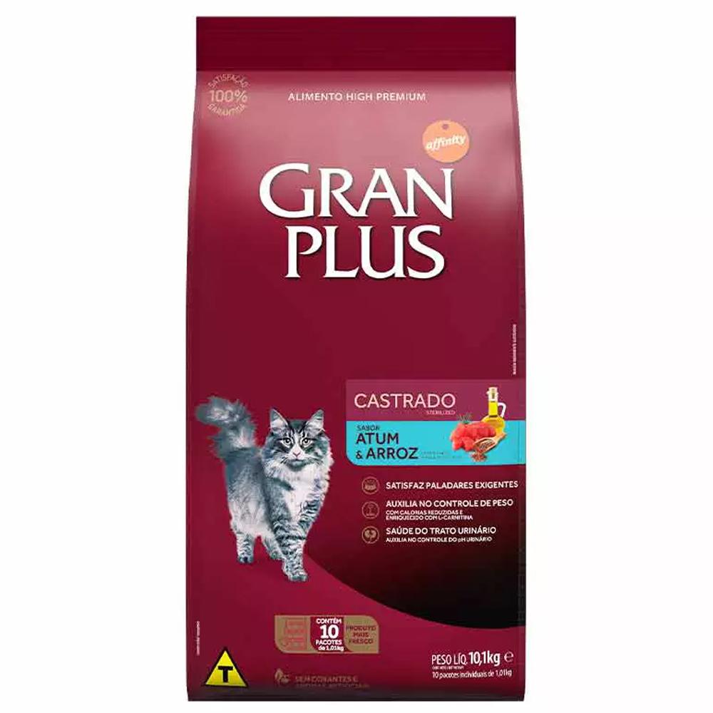 Ração GranPlus Pacotes Individuais para Gatos Adultos Castrados Sabor Atum e Arroz 10,1kg