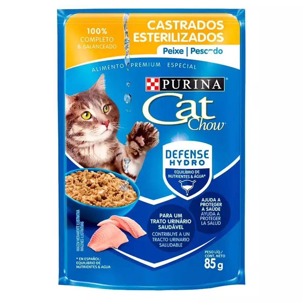Ração Úmida Cat Chow Sachê para Gatos Castrados Sabor Peixe ao Molho 85g
