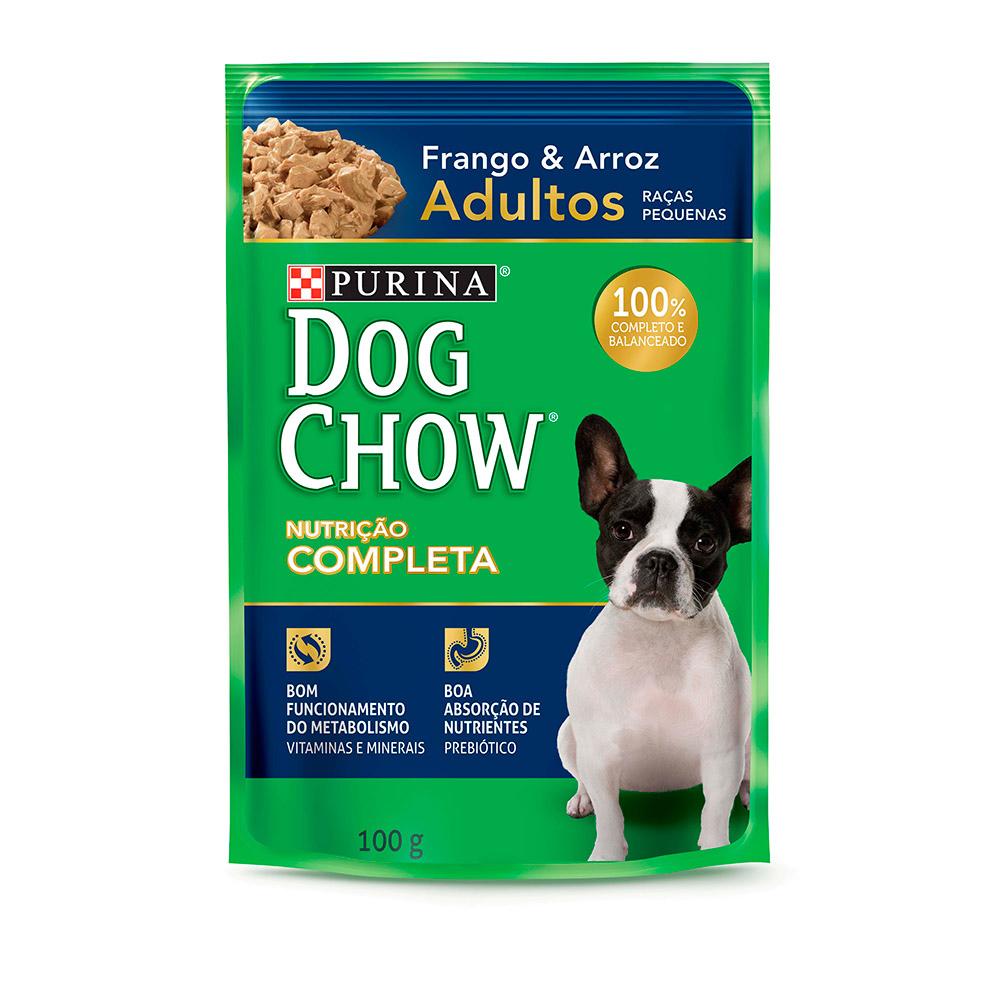 Ração Úmida Dog Chow Sachê para Cães Adultos de Raças Pequenas Sabor Frango e Arroz 100g