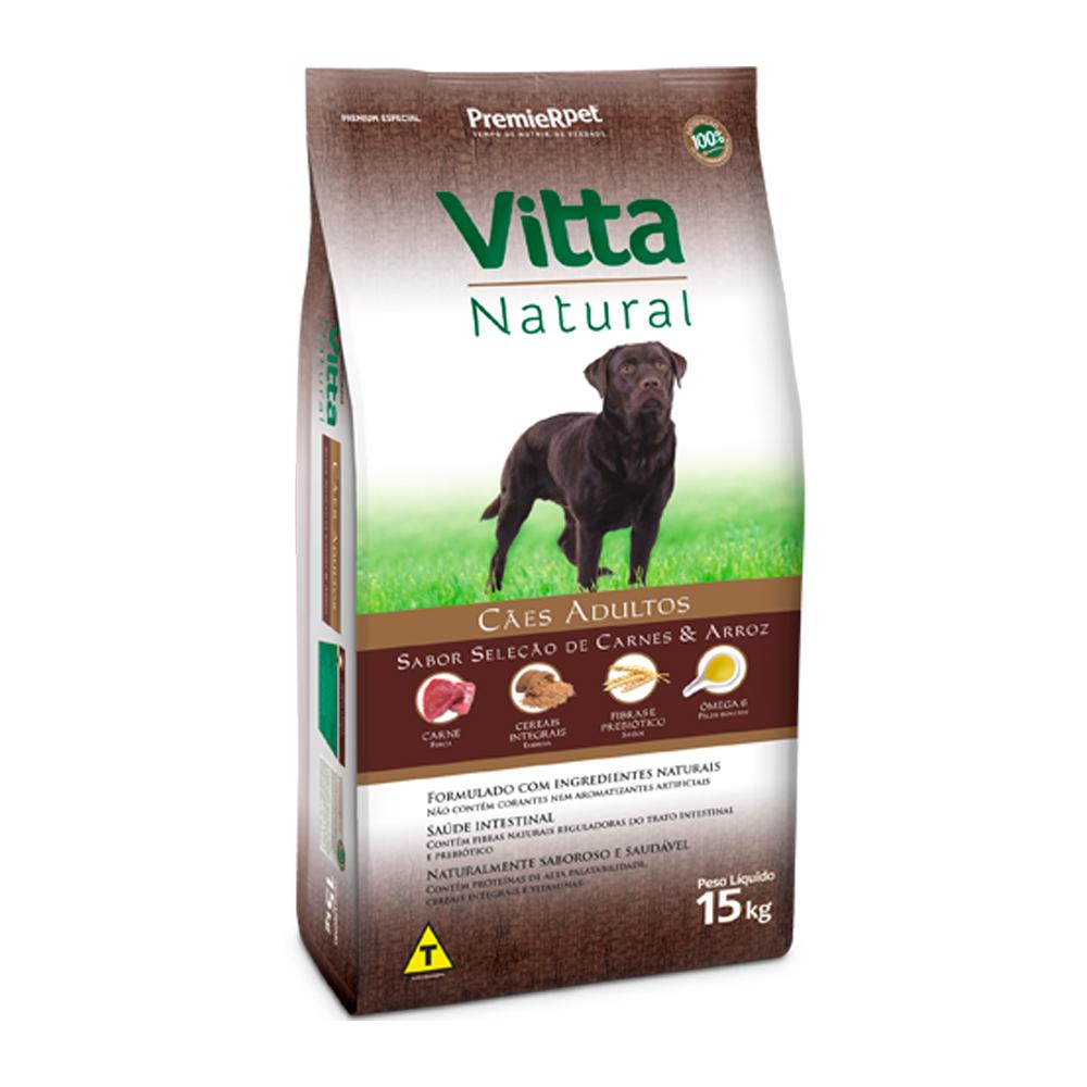 Ração Premier Vitta Natural para Cães Adultos Sabor Carne e Arroz 15kg