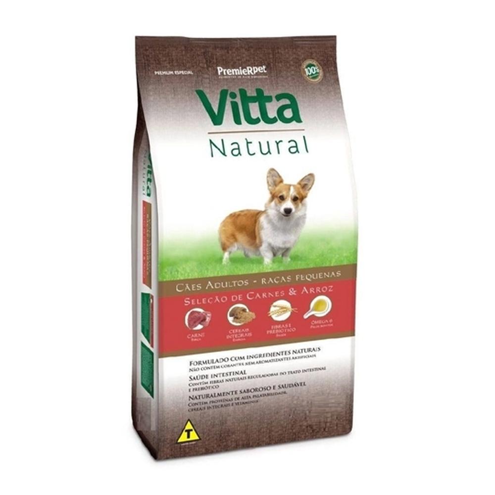 Ração Premier Vitta Natural para Cães Adultos Raças Pequenas Sabor Carne e Arroz 15kg