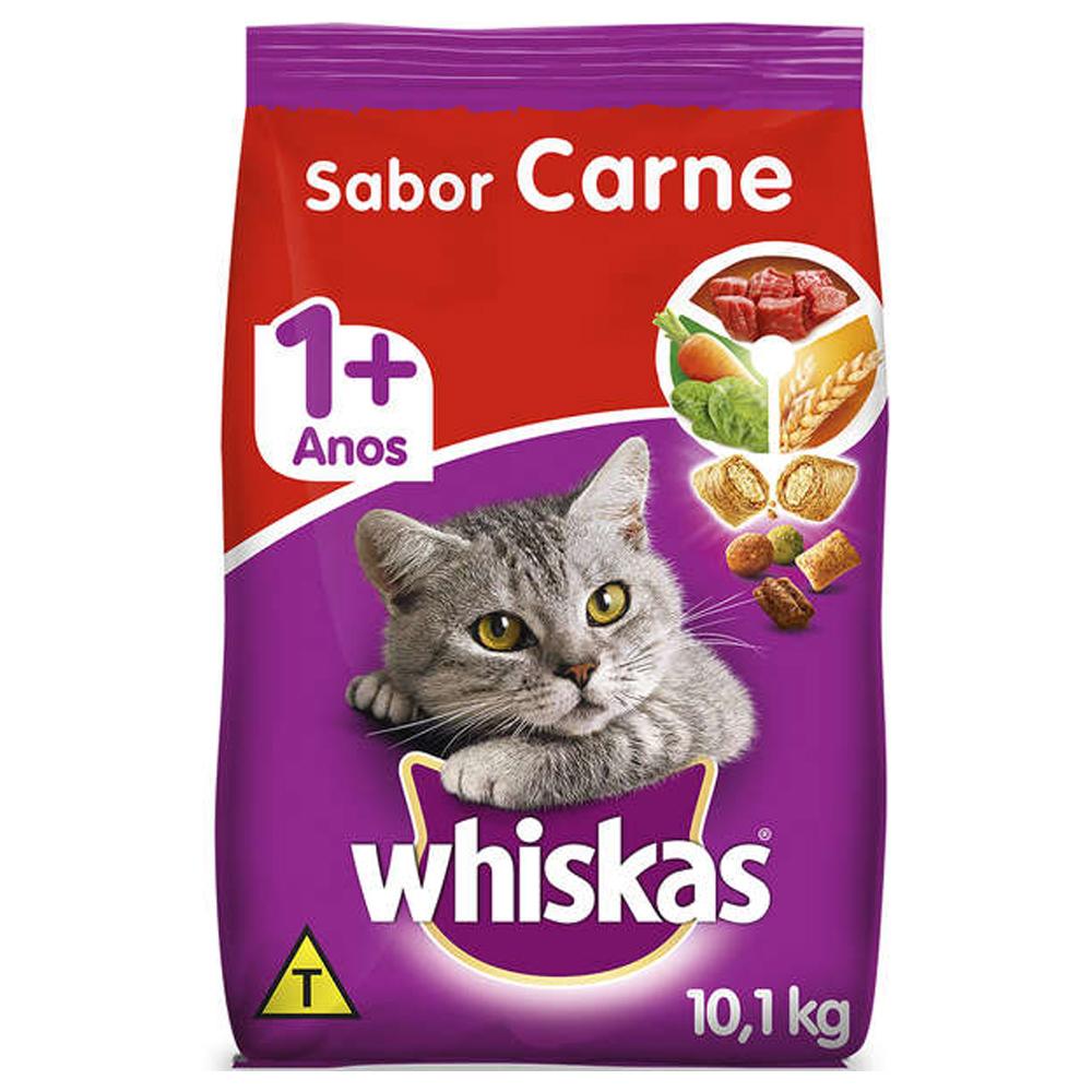 Ração Whiskas para Gatos Adultos Sabor Carne 10,1kg